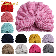 New Knit Winter Baby Hat Candy Color Elastic Infant Bonnet Beanie Hats Newborn Baby Cap Accessories 1 PC(China)