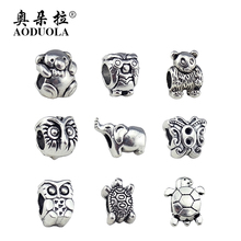 AODUOLA Silver Color Charms Original Beads European DIY Teddy Bear Animal Charm Heart Beads DIY Bracelets Mixed Style 9PC/Lot