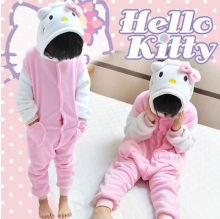 unisex children Flannel Pajamas Kids Cosplay Costume Cute Cartoon hello kitty Animal Onesies Pyjama Sleepwear Suit Pikachu/panda