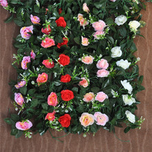 Wedding Decoration Silk Roses Ivy Vine Artificial Flowers With Green Leaves Hanging Garland Decor For Home Party Favors(China)