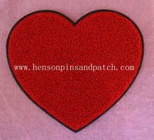 Custom chenille patch,  red heart patch,towel embroiderying patch, black felt