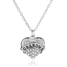 3 Colors Clear Blue Pink Crystal Heart Engraved Grandma Pendant Necklace Family Jewelry Grandmother NANA Gifts Factory Price(China)