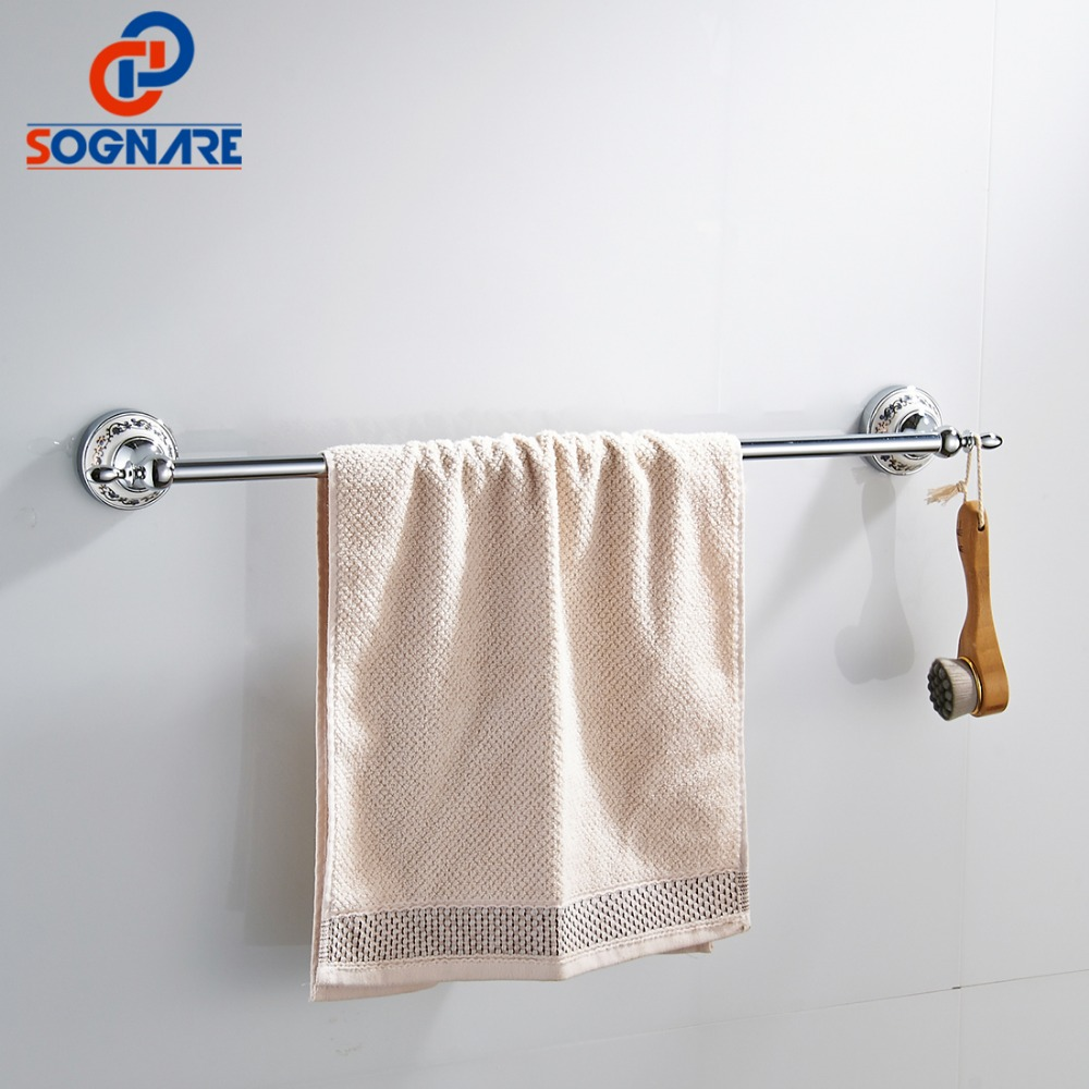 SOGNARE Luxury Single Towel Bar Holder Chrome Finished Wall Mounted Ceramic Silver Towel Holder Nail Bathroom Accessories D1901<br>