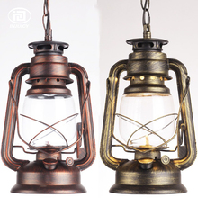 Loft Industrial Antique Lantern Droplight Oil Kerosene Glass Droplight With Chain Vintage Pendant Light Cafe Bar Store Hall(China)