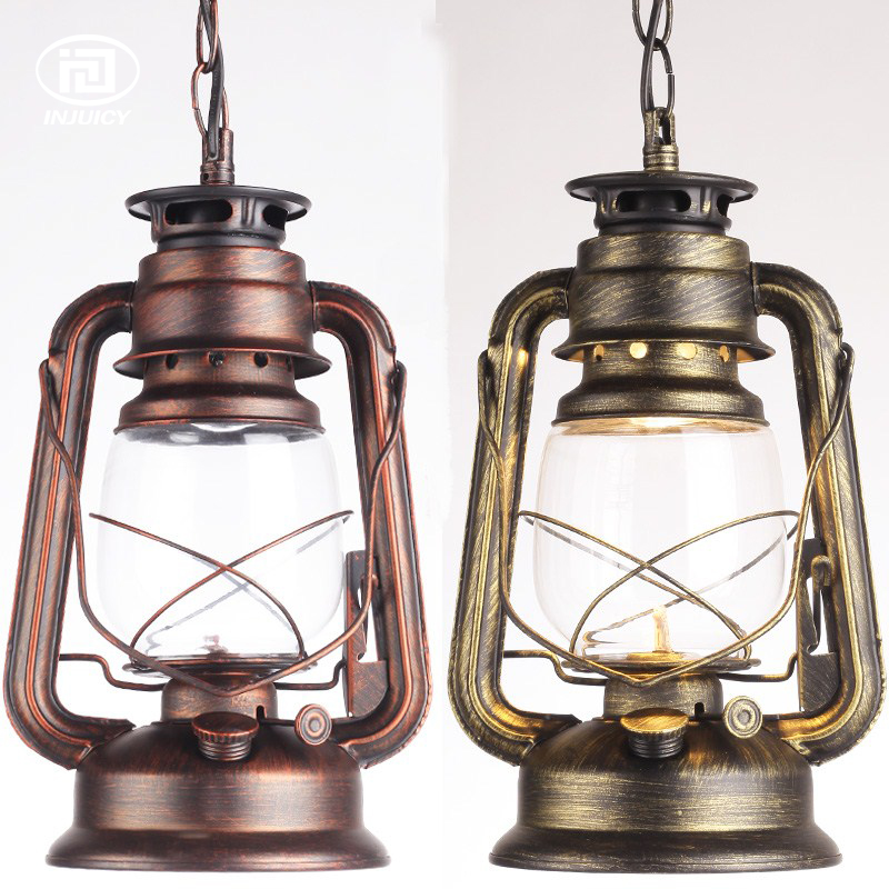Loft Industrial Antique Lantern Droplight Oil Kerosene Glass Droplight With Chain Vintage Pendant Light Cafe Bar Store Hall<br>
