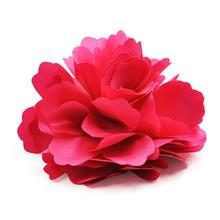 High Quality Silk Flower Hair Clip Wedding Corsage Flower Clip 8cm Red(China)