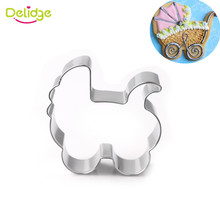 Delidge 1pc Stainless Steel Baby Stroller Cookie Cutter Pastry Biscuit Baking Mold Fondant Wedding Cake Decorating Tools(China)