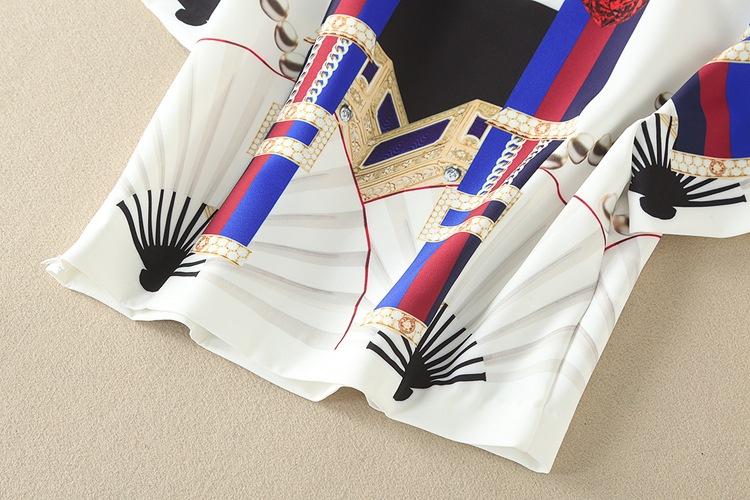 High Quality 17 Designer Runway Suit Set Women's Two Piece Casual Tops + Fashion Print Mid Calf Pants Set suit Free DHL Aramex 16