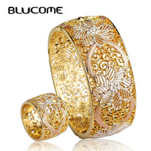 Blucome Enamel Dubai Women Bangle Ring Set Wide Bangles Bracelets Ethiopia Africa Arab Jewelry Sets Wedding Bridal Accessories(China)