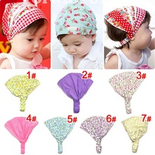Naturalwell Little girl print headbands Cotton bandana hair accessories bandage on head for Kids cut flower hairbands 1pc HB441(China)