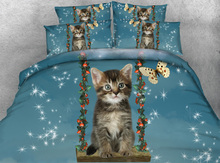 JF-198 Animal Series Cute Lovely Kitten play on a swing with butterfly Kids Single Bed Adult queen King bedding sets(China)