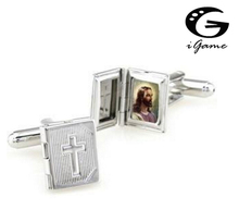 iGame Christianity Cuff Links Silver Color Cross Design Photo Holder Free Shipping(China)
