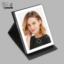 Gustala Portable Foldable PU Leather LED Mirror LED Light Dimmable Touch Screen Makeup Table Mirror USB Charge Cosmetic Mirror(China)