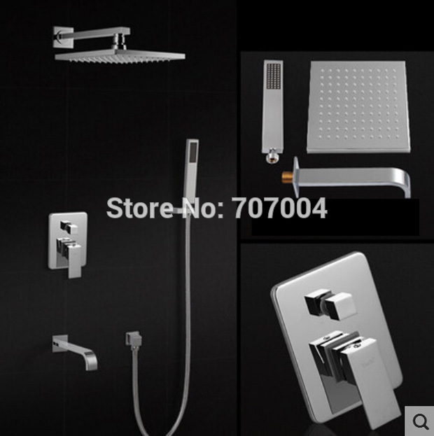 Classic Wall Mount Brass Shower Arm + 8 Rain Showerhead + Handshower Bathtub Shower Mixer Faucet<br><br>Aliexpress