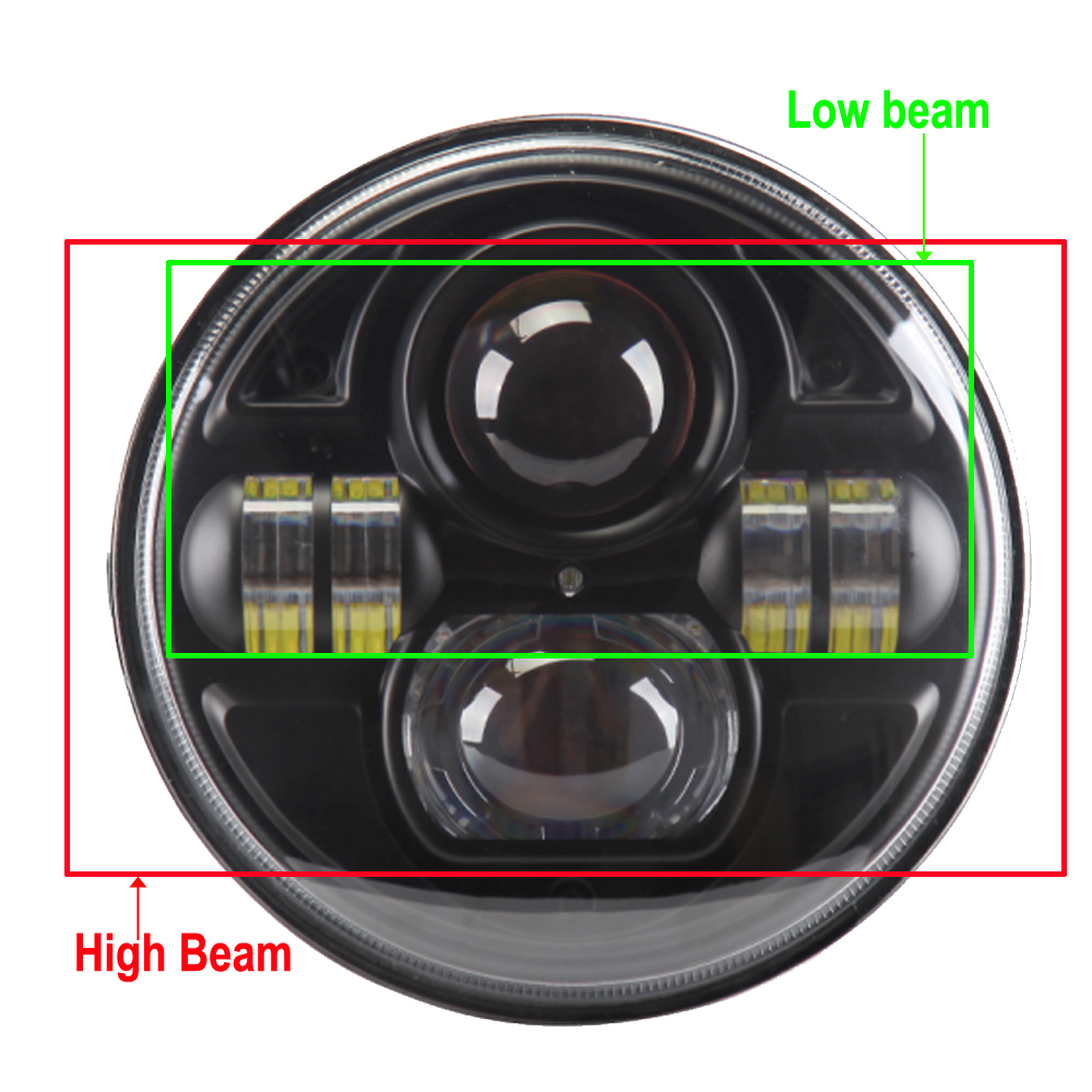 7 inch 45W H4 Round Headlight High Low Beam for Wrangler Land Rover Defender Motor With Free Convert Adapter<br><br>Aliexpress