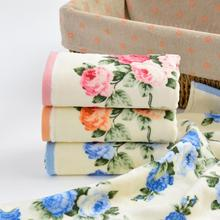 Home Hotel Elegant Peony Pattern Soft Cotton Face Flower Towel Essential Travel Quick Dry Bathroom Towels Facecloth 34*74cm