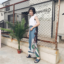 Summer Korean version of ulzzang Harajuku wind high waist cranes and winds Japanese loose wide wide leg pants female casual(China)