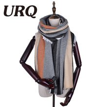 [URQ] Big Size Fashion New Winter scarf knitted Scarves Warmer woman's Crochet Extra Long women Stripe Scarves A8A21843