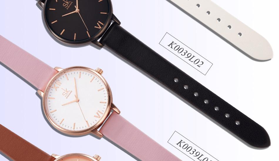ساعة نسائية حزام جلد أنثى كوارتز الوان جميلة 9