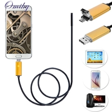 Top Quality 2 in 1 Android USB Endoscope Inspection 7mm Camera 6 LED HD IP67 Waterproof 2M For Android Phone Webcams MAY25(China)