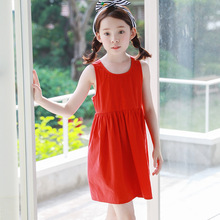 wholesale holliday cotton big girls dress summer 2017 backless red sleeveless kids dresses for girls summer children clothing(China)