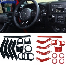 12PCS Steering Wheel Trim Air Condition Vent Interior Accessories Door Handle Cover Kits ABS Black For Jeep Wrangler JK Parts