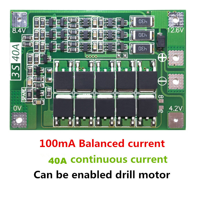 3S 40A Li-ion Lithium Battery Charger Lipo Cell Module PCB BMS Protection Board For Drill Motor 12.6V with Balance(China)