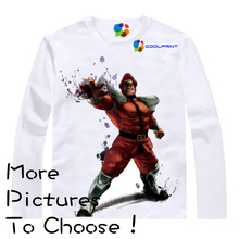 Coolprint M. Bison T-shirts Digital Printing Shirt Super Street Fighter IV Long Sleeve T Shirt Arcade Edition Cammy Crimson Vipe