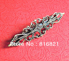 57x25mm Antique Bronze tone Blank Filigree Flower Hairgrips Hair Clips Barrette Settings Findings Jewelry Making(China)