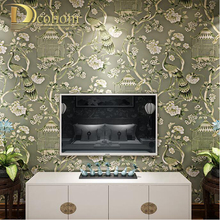 Non Woven Flower Bird Paintings Wall Paper Living room Backgrounds Wall Decor Vinyl Peacock Vintage Wallpaper Rolls R637