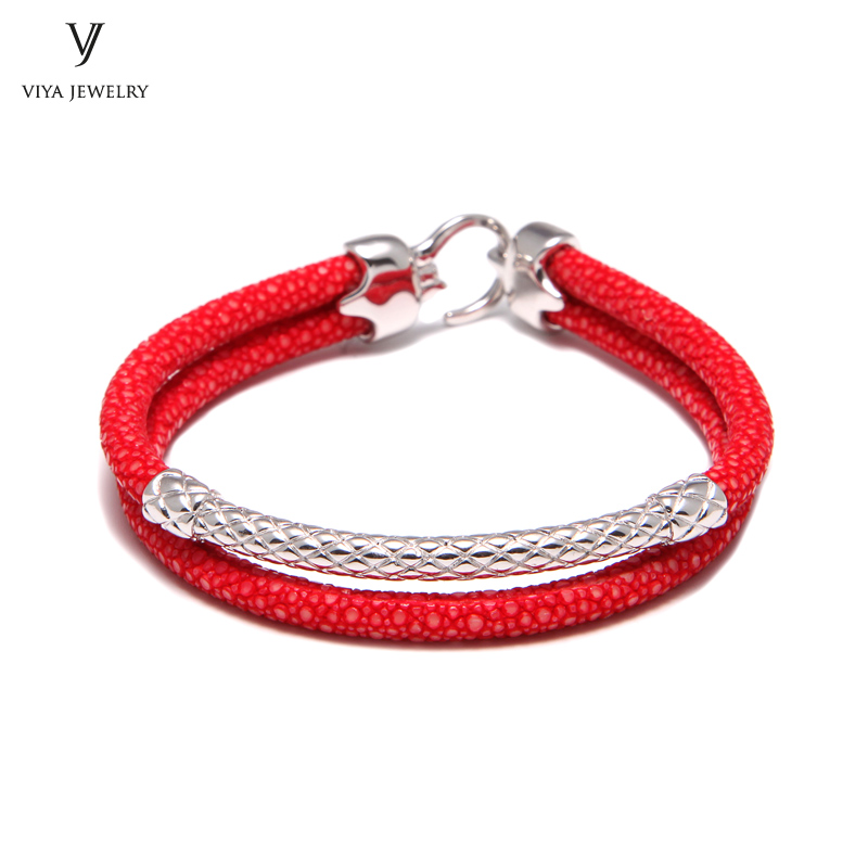 Handcrafted Luxury Custom Stingray Silver Bracelets Two hand-wrapped Stingray leather cords Men Bracelet With Pure Silver Clasp-VSST-03 (5)