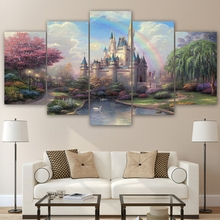 Modern Home Wall Art Decor Canvas Pictures Frame Rainbow Fairy Tale Poster 5 Pieces Cinderellas Castle Painting HD Prints PENGDA(China)