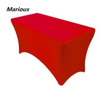 Big Discount 10pcs 6ft red Rectangle Lycra Spandex outdoor Table Cloths Elastic Wedding Table Covers Free Shipping Marious(China)