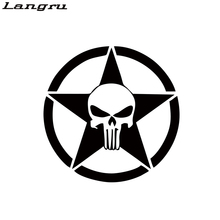 Langru 2017 Hot Sale 2x Skull The Punisher Car Vinyl Decal Sticker Reflective New Car Stying Jdm(China)