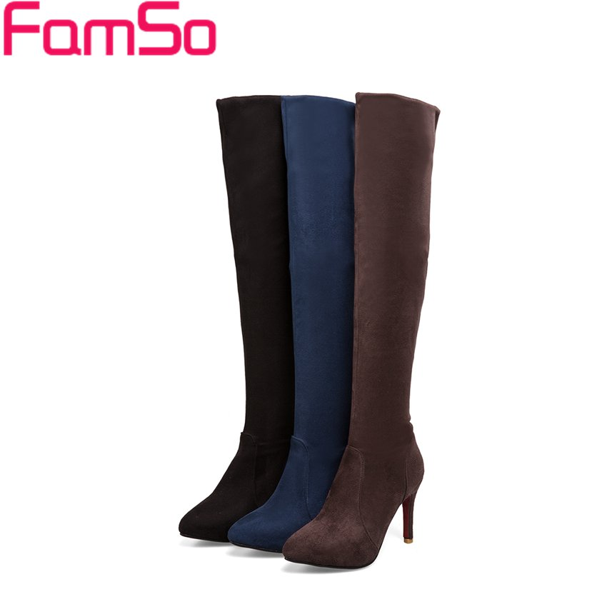 Big Size 34-43 2017 New Retro Style Womens Boots Pointed toe High Heels Over The Knee Boots Winter Snow Boots SBT3991<br><br>Aliexpress