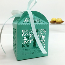50Pc/lot Love Birds Type Gift Cardboard Box Laser Cut Hollow Gifts Candy Packaging Paper Boxes For Guests Wedding Party Supplies