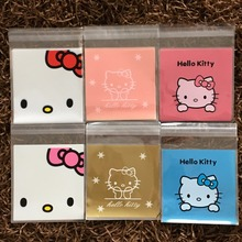 50 pieces/lot 10*10CM Lovely Hello Kitty 6 Designs Self-adhesive Plastic Bags For Cookies, Biscuits,Candy(China)