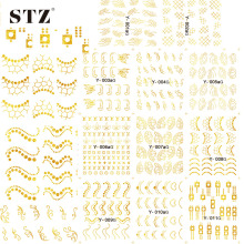 1sets 11 Designs Gold/Silver Glitter Tips Nail Art Sticker Water Transfer Hot Image Decor Decals Foils Manicure Tools Y001-011