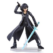 Anime Sword Art Online S.A.O Kirito Action Figure Toys 15cm Kirigaya Kazuto Figma PVC Action Figure Collectible Model Toy 3 Face(China)