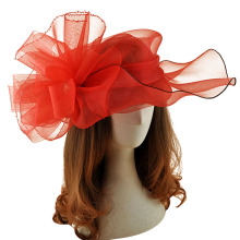 Big Red Vogue Hat Gauze Flower Fascinator Hair Clip Women Kentucky Derby Mesh Headwear Wedding Bride Headpieces Hair Accessories