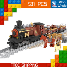 531pcs Train Creator Classical American Stea Red Locomotive 25813 Model Building Blocks Bricks Railway Toys Compatible With lego(China)
