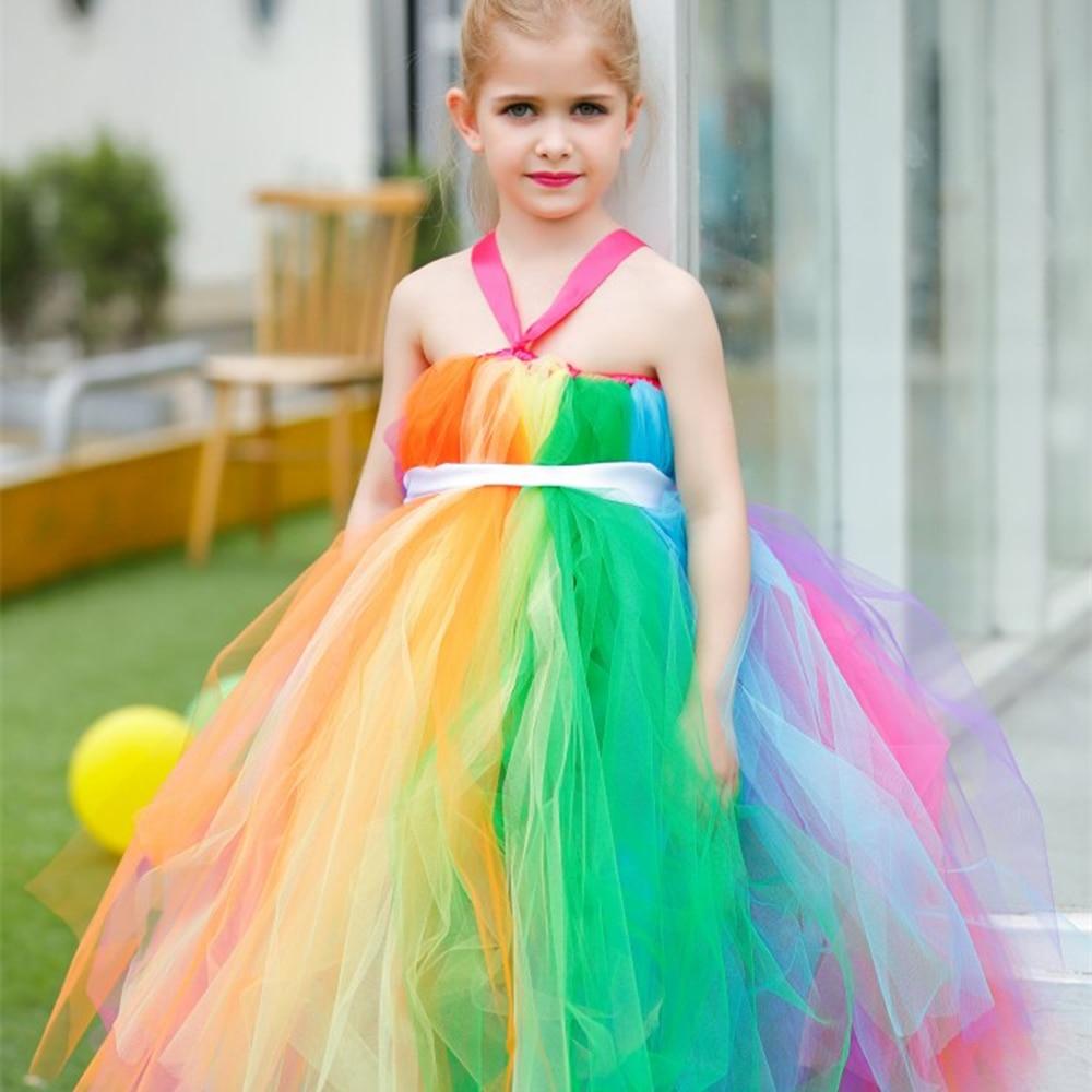 Rainbow Flower Girl Dress Kids Girls Satin Sash Fluffy Tulle Girl Tutu Dress for Party Girl Teenage Puffy Dress Clothing <br>