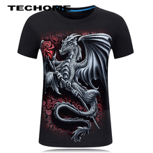 Summer 3D Men brand clothing O-Neck short sleeve animal T-shirt Dragon 3D Digital Printed T shirt Homme large size 5XL 6XL(China)