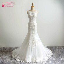 Buy Sexy Mermaid Long Lace Appliques Wedding Dresses 2017 Real Court Train Fishtail Wedding Bridal Gown Beads sequins for $129.00 in AliExpress store