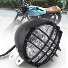 "Black 5"" Grill Mask Retro Vintage Motorcycle Side Mount LED Headlight Fits for Old School Cafe Racer Bobber Style Custom(China)"