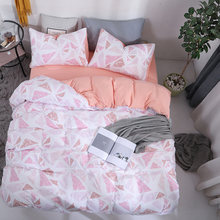 Washed Cotton Duvetcover Set King Queen Size Beddings Bed Cover Set Reactive Printing Soft Comfortable Bed Clothes Blanket Cover(China)