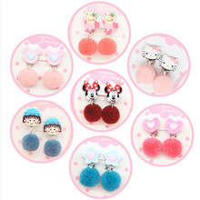 New product cute fuzzy ball earrings han edition cartoon painless ear clip with soft glue pad(China)