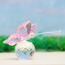 Kiwarm Elegant Crystal Glass Animal Little Pink Butterfly Figurines Paperweights Crafts Figurine Gifts For Home Wedding Decor