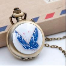 wholesale buyer price quality Bronze, silver enamel blue butterfly pattern Modern hours pendant Necklace pocket watch