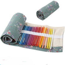 36/48/72 Holes Pencil Bag School Canvas Floral Stationery Roll Pencil Case Sketch Pencil Brush Bag Kits Rolling Up Holders Bag